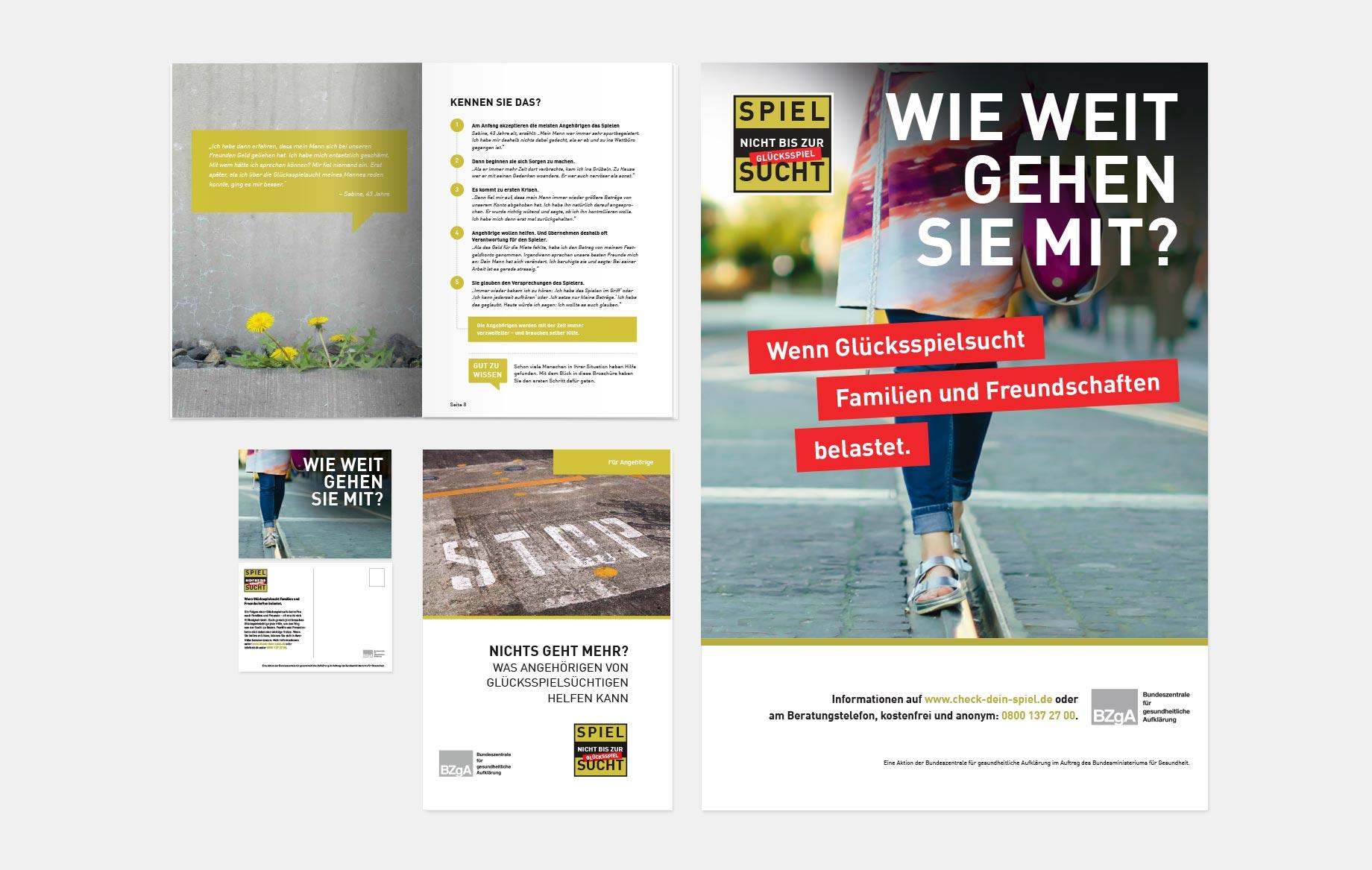 Ungewöhnliche Text-Bild-Kombinationen auf den Titelseiten der Broschüren erhöhen die Aufmerksamkeit