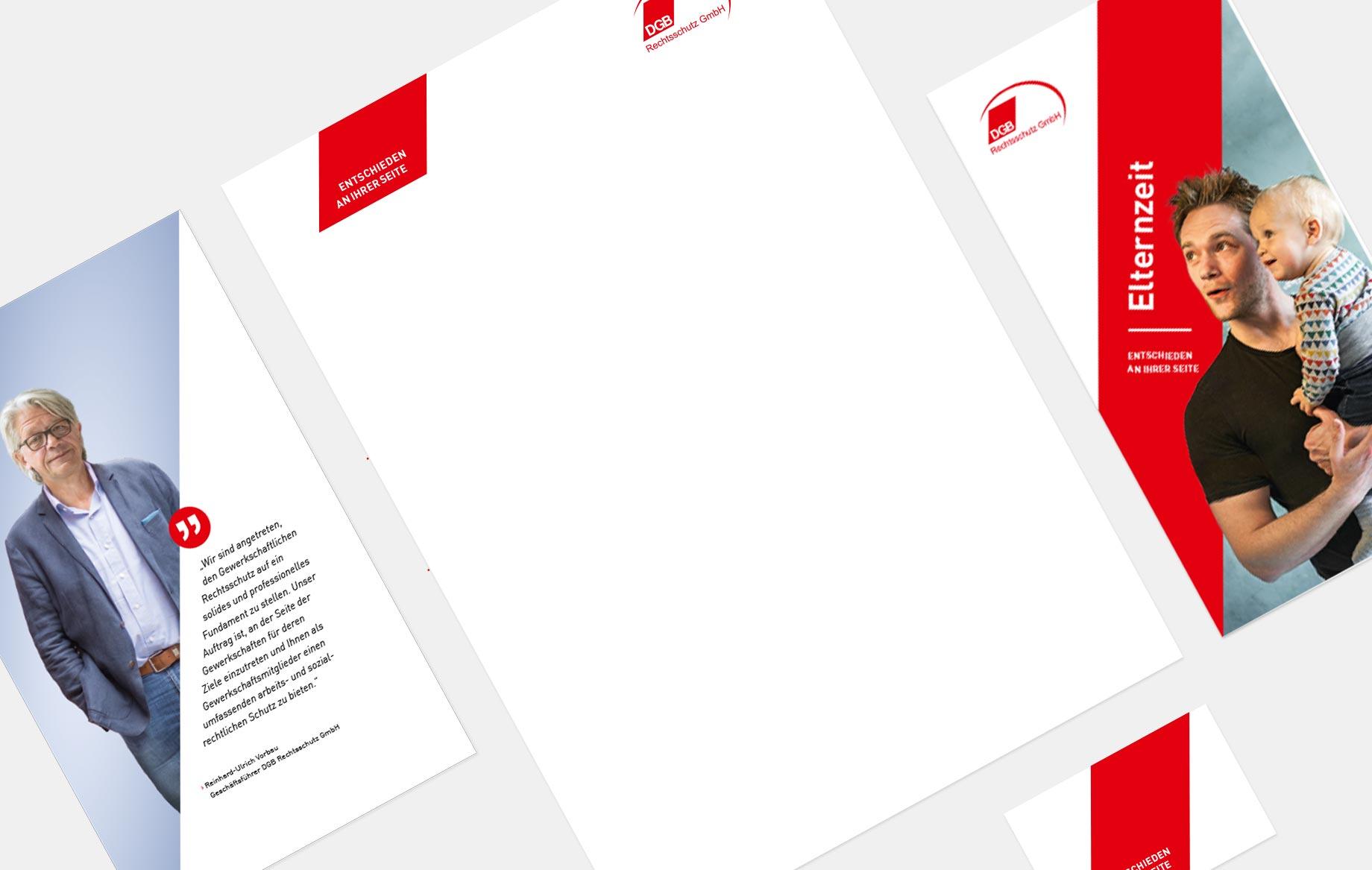 Die Form der Raute aus dem DGB-Logo bestimmt den Charakter des neuen Corporate Designs