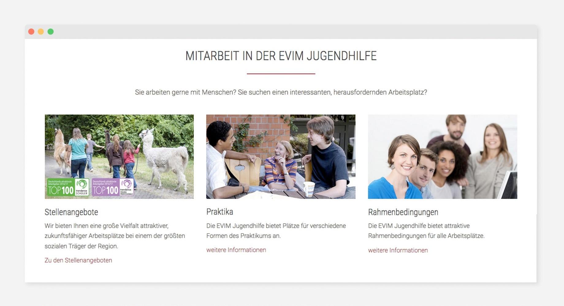 Bereich Mitarbeit auf evim-jugendhilfe.de