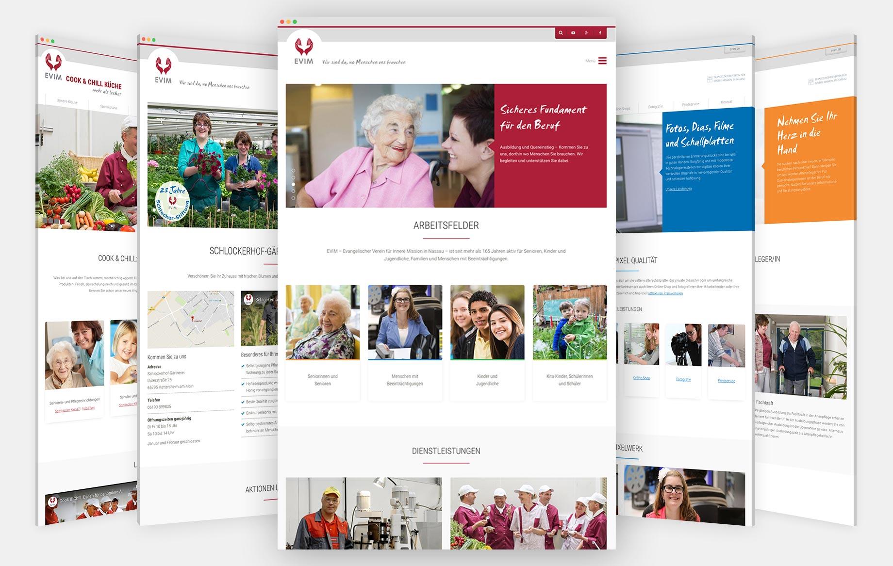 Hauptseite evim.de und Microsites für spezifische Angebote und Zielgruppen