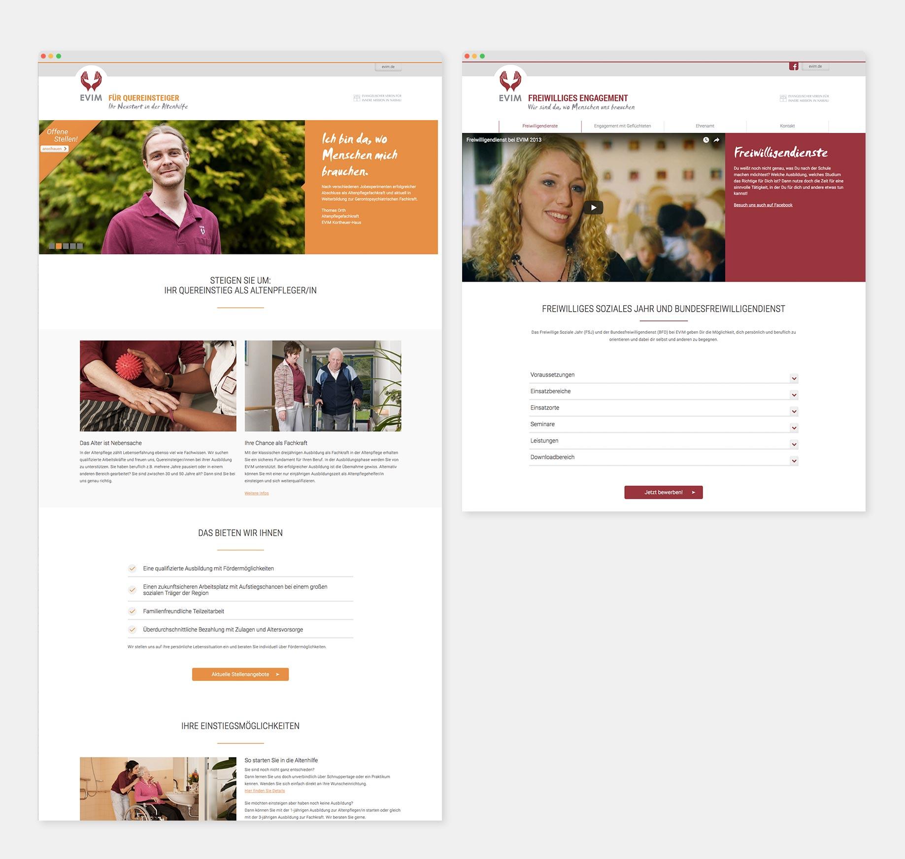 Landingpage Kampagne ihre-chance-bei-evim.de (links), Microsite evim-freiwillig.de (rechts)