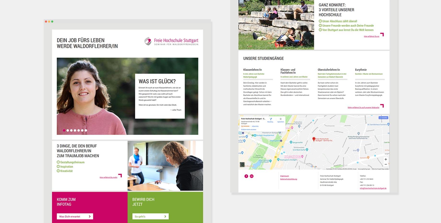 Landingpage der FHS-Kampagne