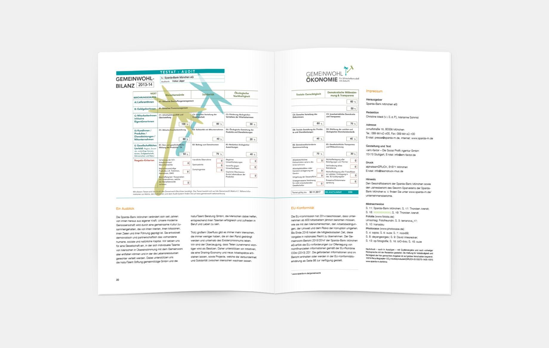 Am Ende jedes Kapitels verweist ein Piktogramm auf die Bewertungskriterien des aktuellen Testats, das ebenfalls in der Broschüre abgedruckt ist. So wird die bemerkenswerte Unternehmensphilosophie der Bank deutlich.
