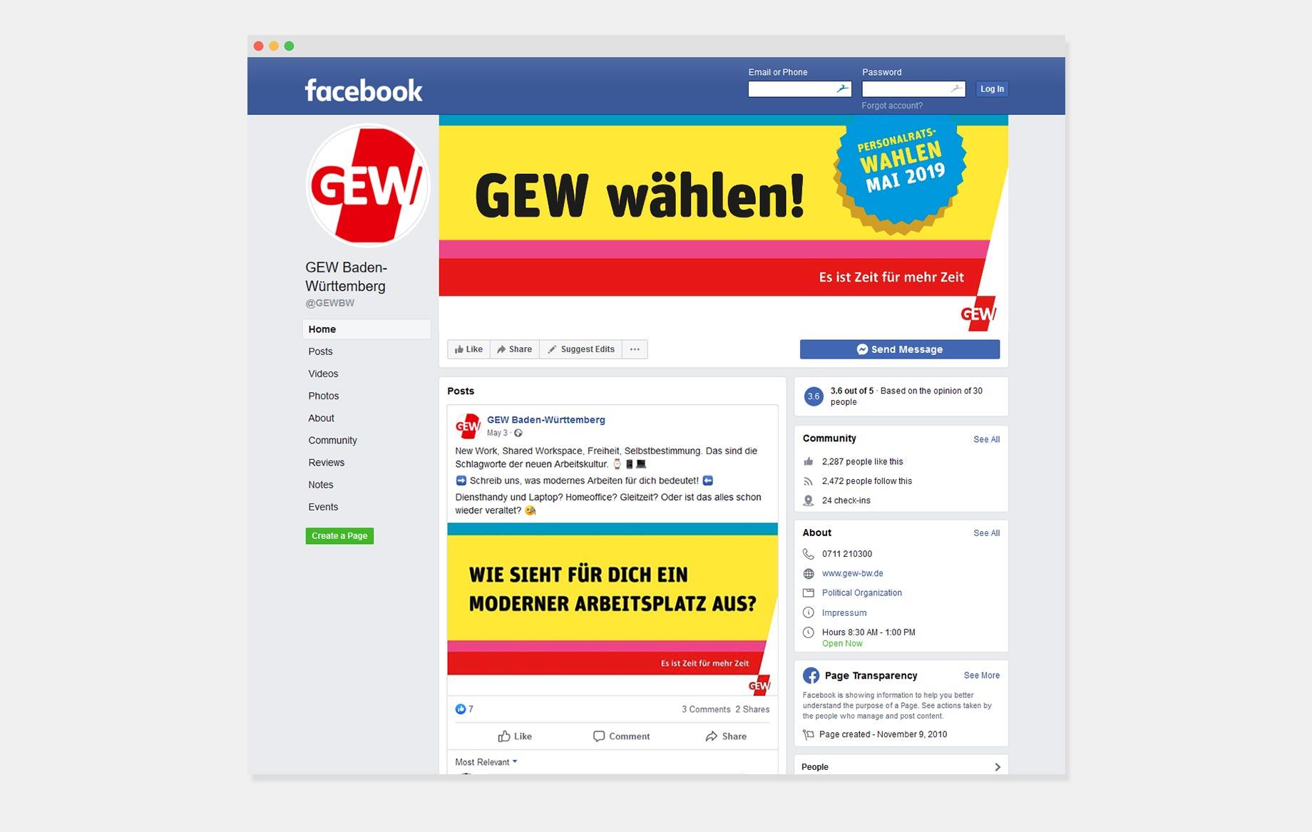 Facebookseite der GEW