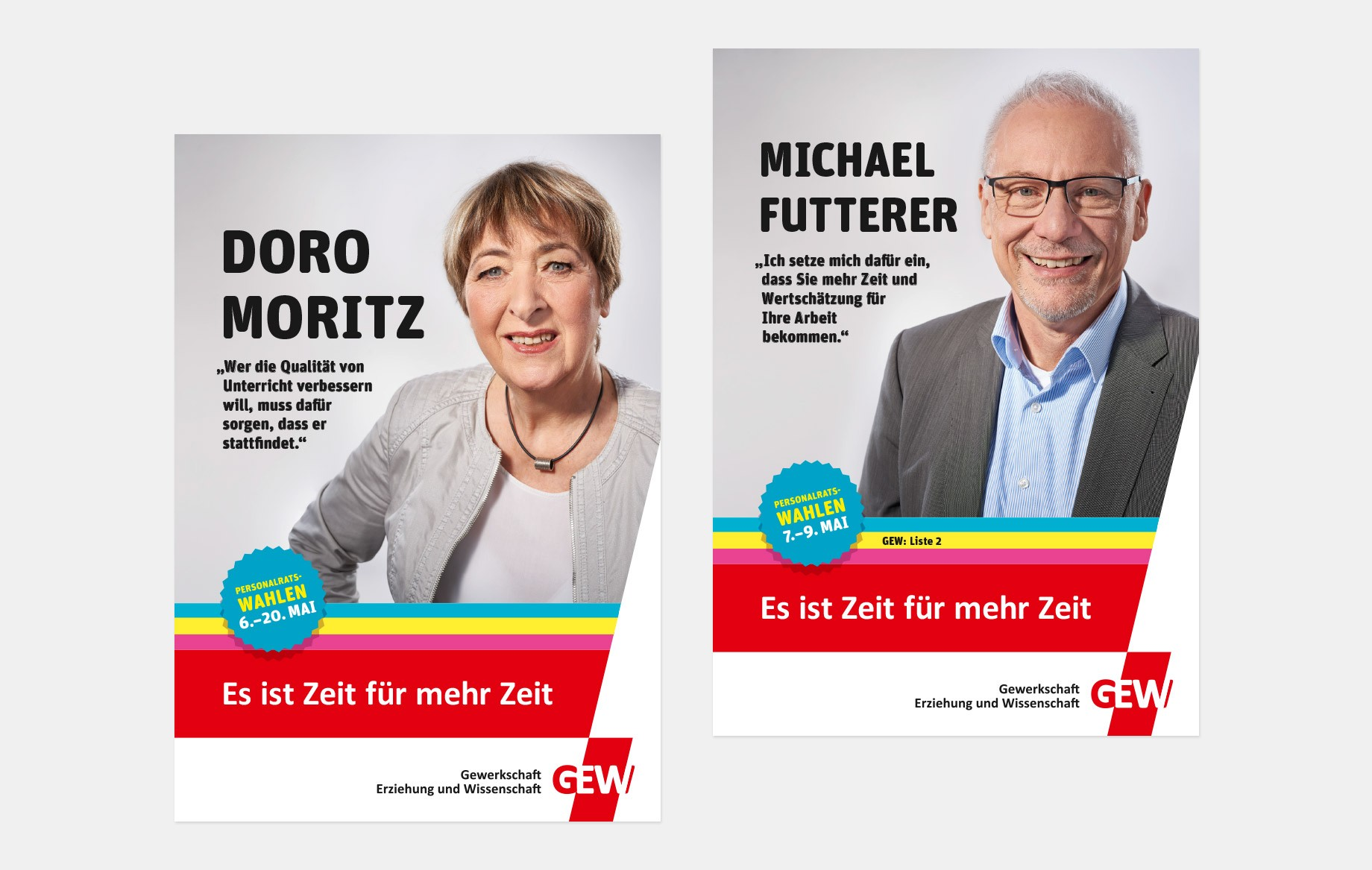 Spitzenkandidat*innenplakate mit Doro Moritz und Michael Futterer.