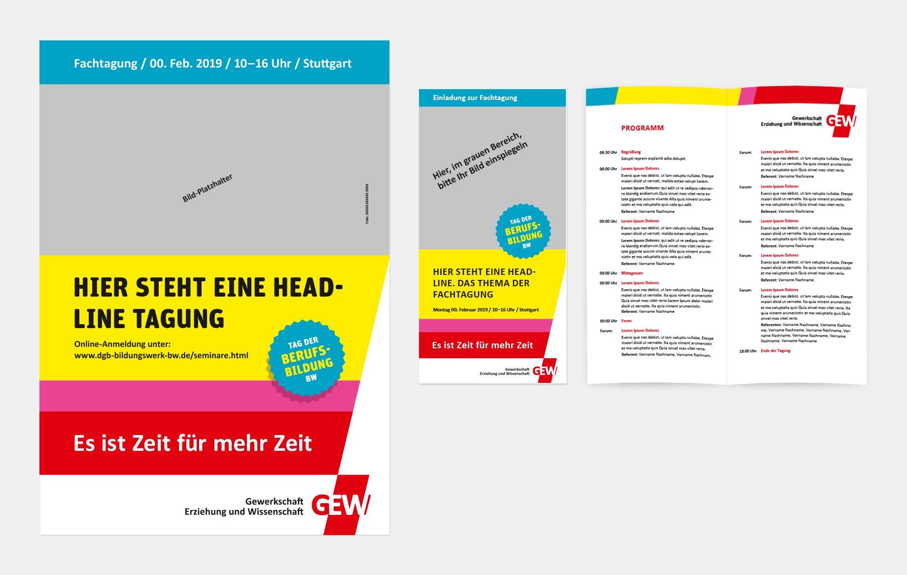 Vorlagen für Plakate (li.) und Flyer (re.)