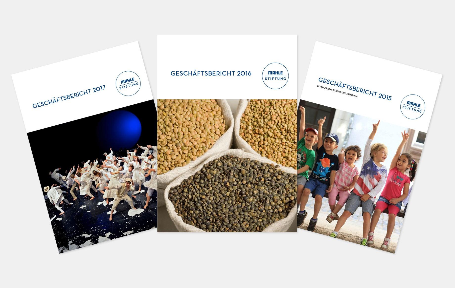 Titelseiten der Geschäftsberichte 2015–2018