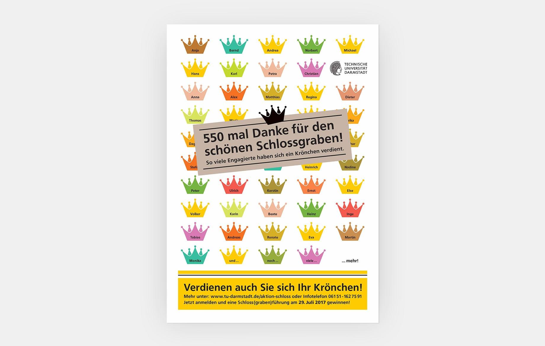 Plakate machten die Kampagne im Außenbereich der TU Darmstadt sichtbar.