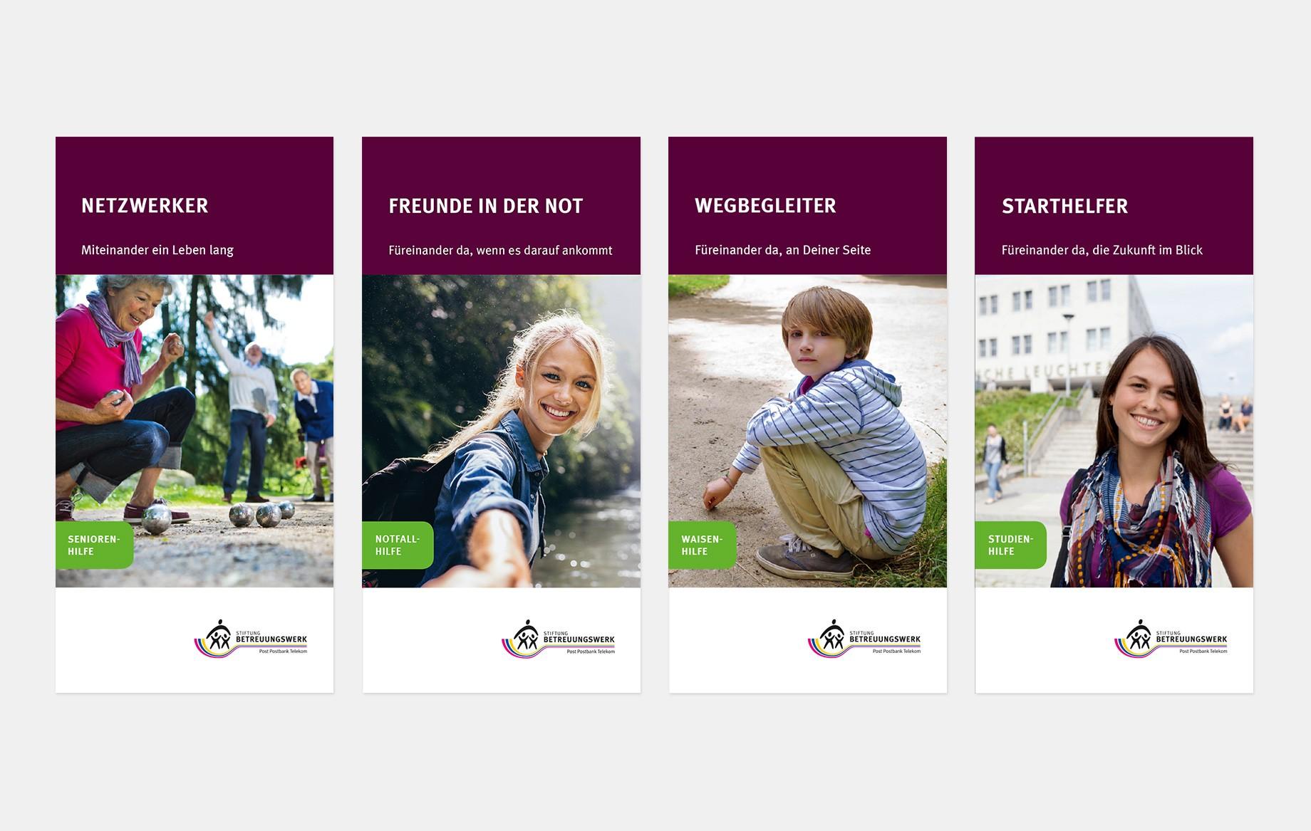 Die Flyer für die verschiedenen Angebote der Stiftung haben eine neue erfrischende Gestaltung und Headlineführung erhalten.