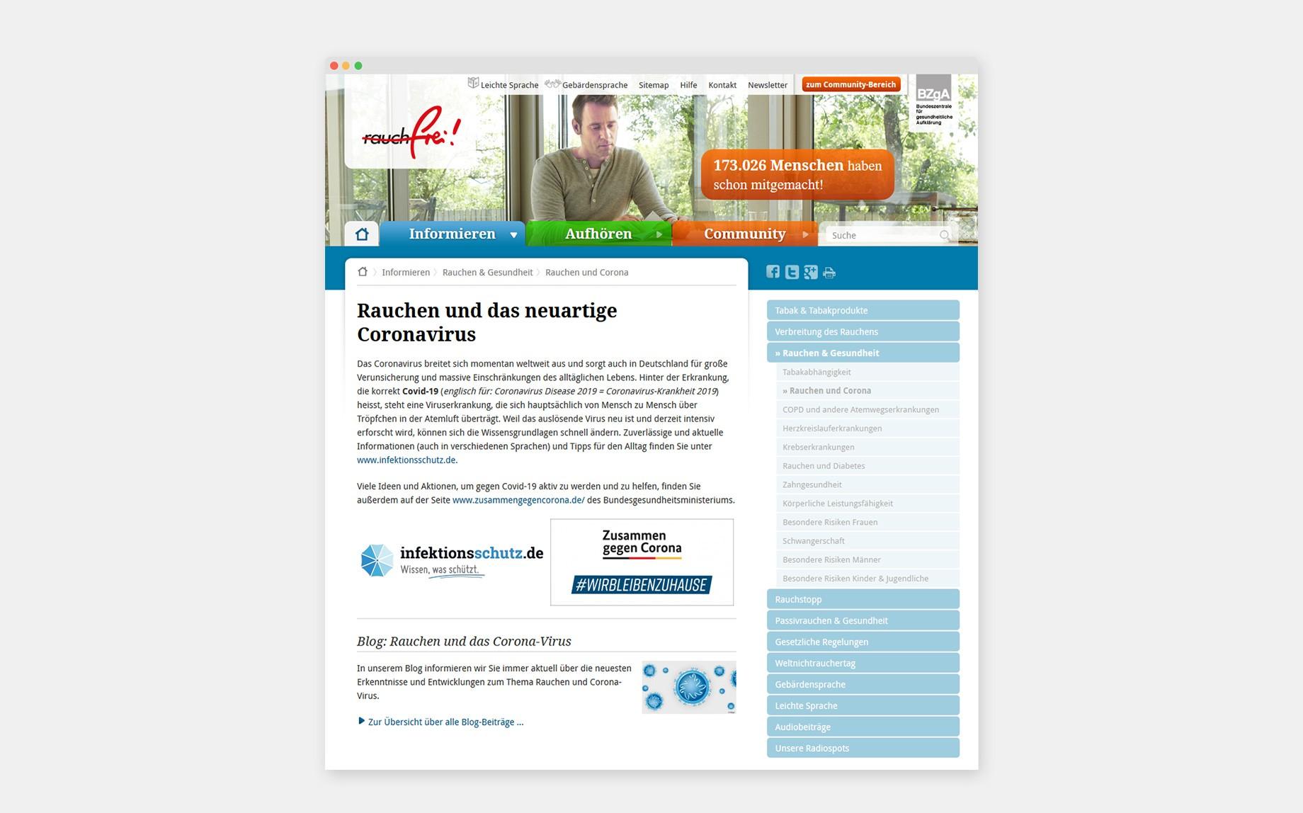 Themenseite für Raucher*innen auf www.rauchfrei-info.de/corona