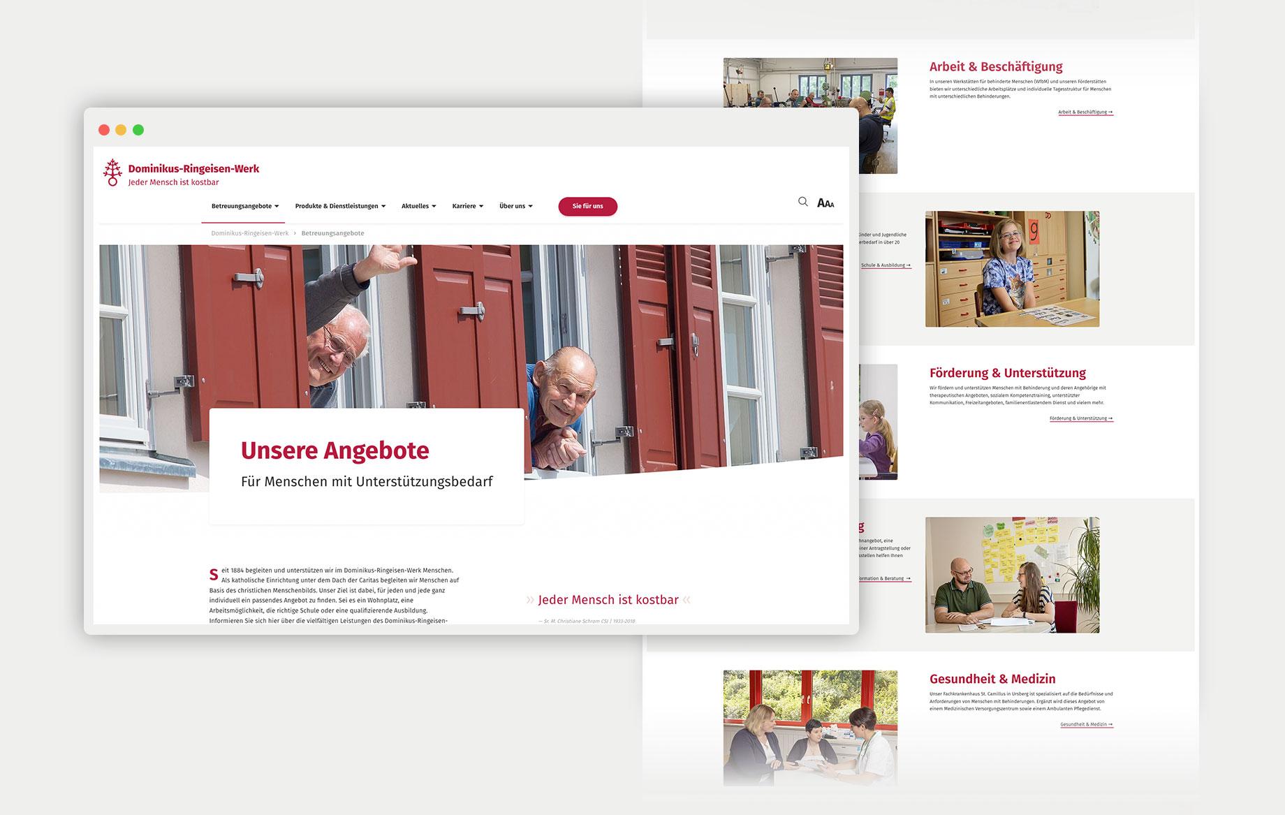 Fotos geben Einblick in die Arbeit, kurze Texte und weiterführende Links helfen bei der schnellen Navigation durch die Seite.